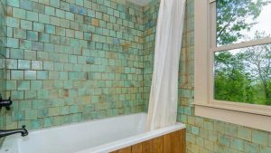 Completed Bathroom Remodel With Turquoise Tile